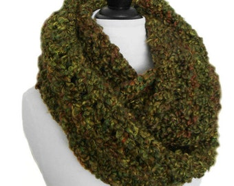 Camo Green Infinity Scarf Cowl Oversized Long Crochet Infiniti Loop Circle Scarf Warm Very Soft Hand Made Camouflage Colors Greens & Browns