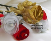 Wedding decorations silk roses in red, gold or silver scented with essential oil