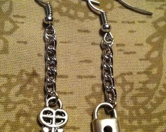 Lock and Key Silver Drop Earrings