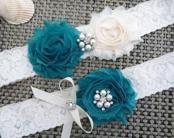 Teal Bridal Garter Set / Teal Lace Garter / Garter Set / Toss Garter / Wedding Garter / Vintage Inspired Lace Garter