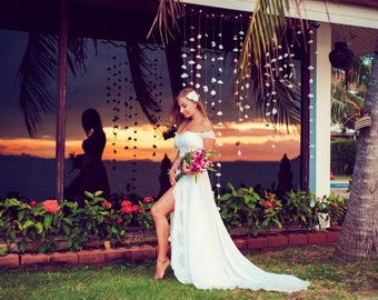 "Ivory Lace Wedding Dress from Chiffon and Lace, Wedding Dress with Train ""Yacia"", Beach Wedding Dress, Romantic wedding gown, Custom dress"