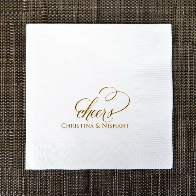 personalized cheers wedding napkins custom napkins cocktail