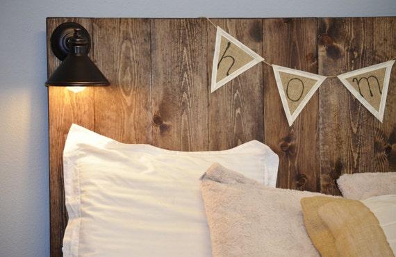 Rustic Vertical Grain Wood Headboard with lighting