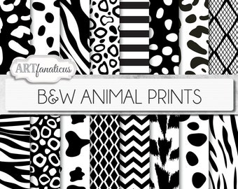 Black & White ANIMAL PRINTS digital papers, animal pattern, cowhide, dalmation, cheetah, leopard, zebra, tiger, snake skin,chevron, stripes