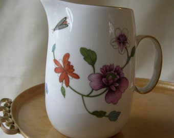 Royal Worcester ASTLEY Pattern Vintage Pitcher Mulitcolor Flowers and Leaves Floral with Insects England 1967-1986.