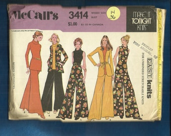 1972  McCalls 3414 Palazzo Pants for the Perfect Hostess Cowl Neck Tops &  Jacket Size 14 UNCUT