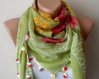 green scarf multicolor scarf cotton scarf spring scarf yemeni scarf fashion accessories trendy scarf green shawls gift for her