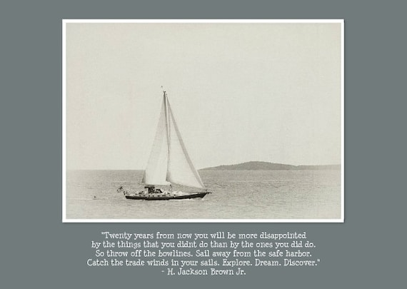 """Inspirational Photo Greeting Card with Quote for  Encouragement and Support. Flat (NOT FOLDED) 5""""x7"""" Note Card with Sailboat."""