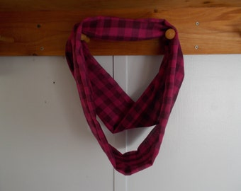 "Infinity Scarf.  Cotton hot pink and black plaid infinity scarf.  Approx 5"" x 72"".  Great light weight scarf to add color  to your outfit."