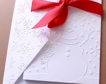 Embossed Snowman Cards Set of 8, Embossed Cards, Snowman Cards, Note Card Set, Christmas Card Set, Christmas Cards, Holiday Cards