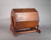 Rare Antique Wooden Spinning Ballot Box / Game Box Octagon with Brass