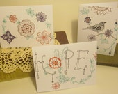 3 pack of blank note cards - Doodle, thinking of you, inspirational, thank you, get well soon
