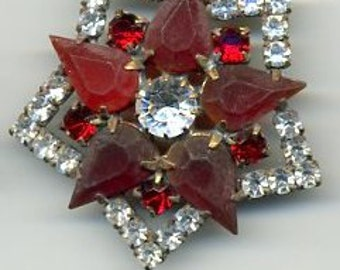 Czech glass rhinestone button - red and clear rhinestones - size 16, 36mm RS 48