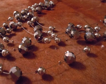 Layered Faceted Silver Metallic Necklace