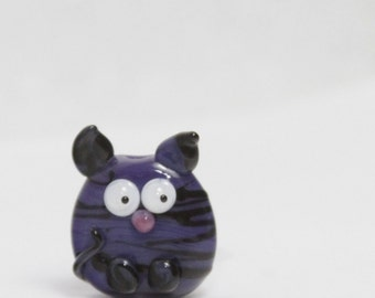 Glass Cat Lampwork Focal Bead. Purple with black stripes