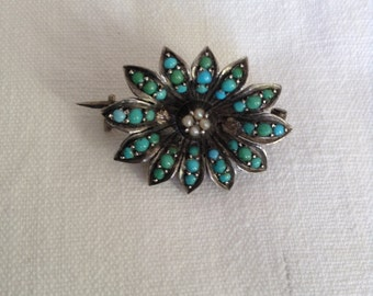 19th turquoise and silver brooch
