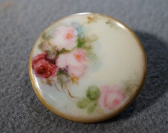 Vintage Hand Painted Fancy Detailed Muti Floral Porcelain Victorian Style Button