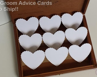 100  Bride And Groom Advice Cards, Large White Scallop Hearts, DIY Weddings, Escort Cards, Wish tags(3x2.75)