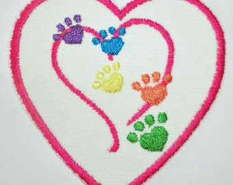 Iron-On Patch - PAWS IN HEART