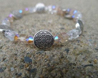 Swarovski & Glass Beaded Memory Wire Bracelet