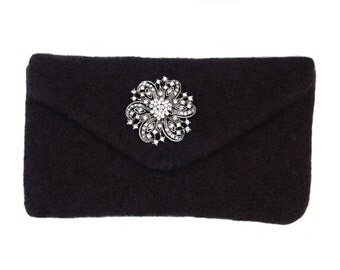 "Midnight Black Felted Clutch - Felted clutch complete with a removable rhinestone brooch and a removable 42"" purse chain"