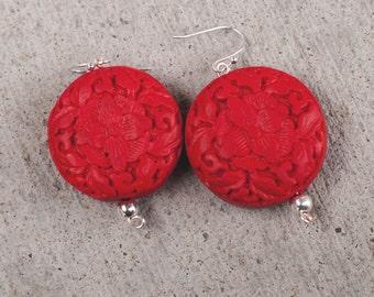 Red Cinnabar Earrings, Red Earrings