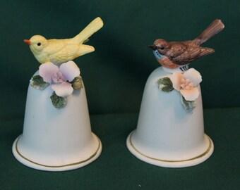 Vintage pair porcelain bells, Fine Quality Lego bells, bird bells, collector bells,porcelain bells