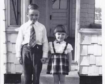Vintage Black & White Snapshot Photograph: Boy Girl Outside Porch 1950's 63A