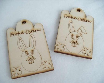 2 Easter labels, wood, 4,4 x7 cm (07-0016A)