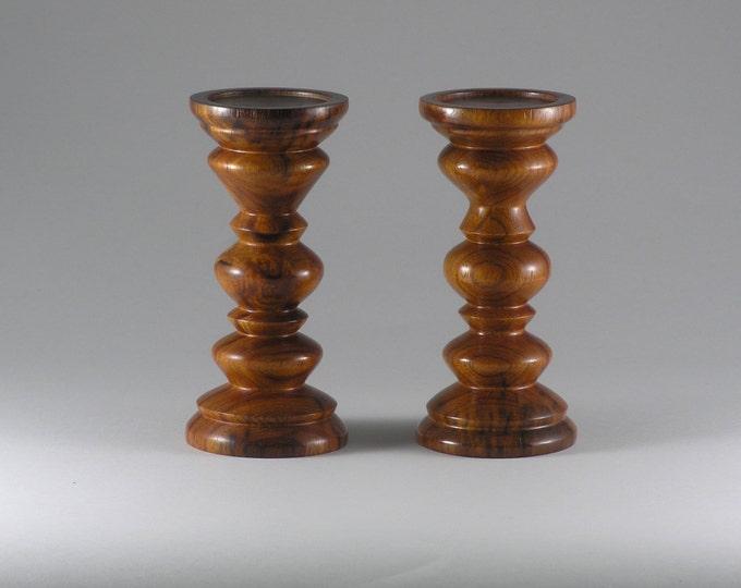 wood candle pedestals made from granadilla wood