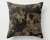Taupe Marble Pillow Cover, Brown Black Galaxy Printed Throw Pillow Case
