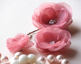 Old rose hair flower Dusty pink hair flower 3 pink hair clip Antique pink flower Pink wedding Old rose wedding Antique pink wedding flowers
