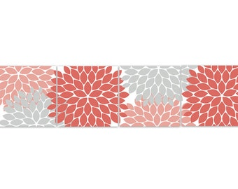 Home Decor Wall Art Instant Download Coral And Grey Flower Burst Art Bathroom Wall