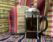 French Press Cover, keeps coffee hot. FREE SHIPPING.  Made from coffee sack and Peruvian textiles.  Choose 8 or 12 cup french press.