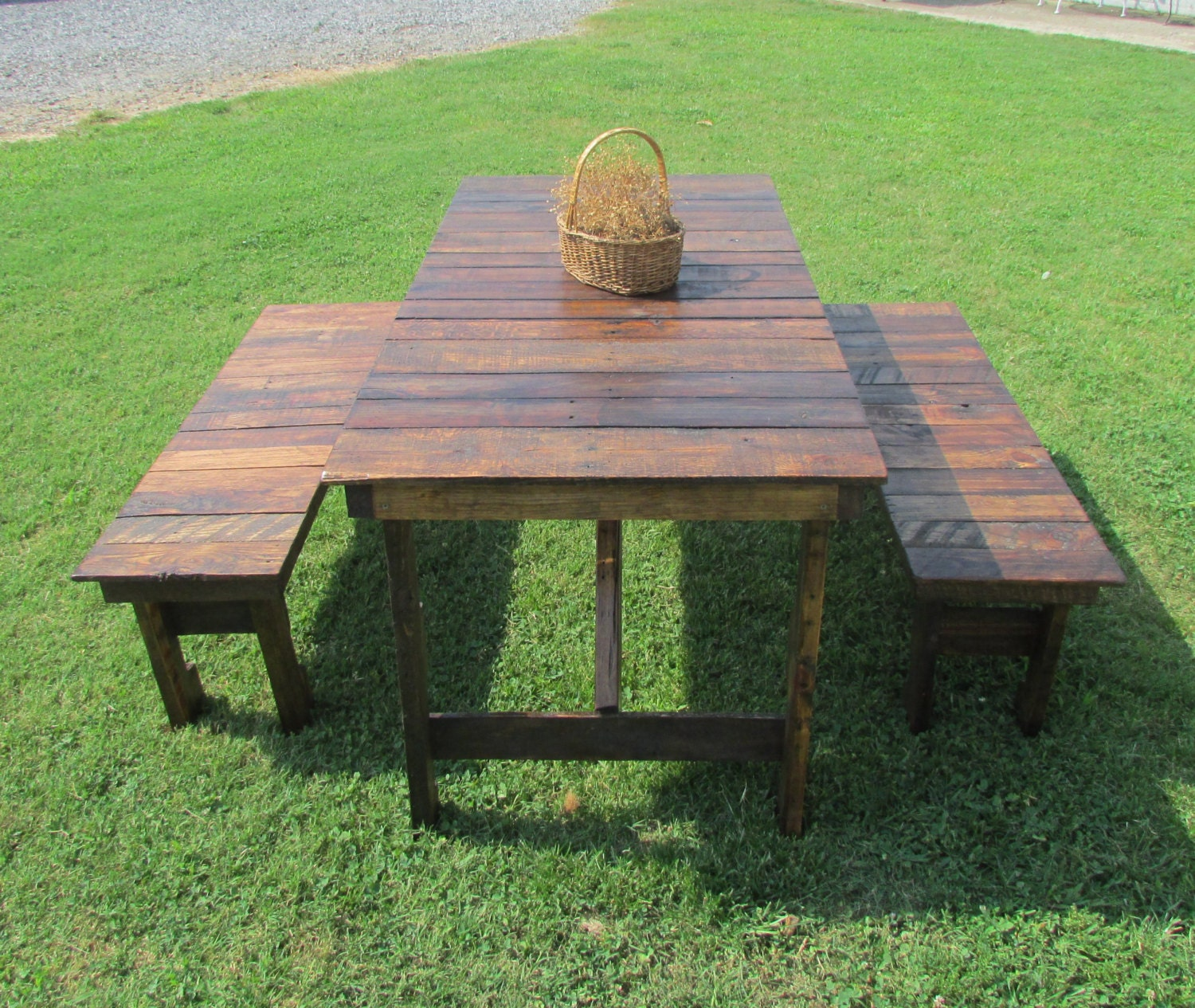 zoom. 6  Rustic Kitchen Table   Bench Set Reclaimed Wood Table