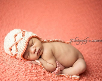 Crochet baby girl Newborn - 4T Elegant Earflap hat Photo prop - Custom made to order