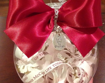 Personalized Wedding Invitation Ornament with Bow and Charm, first anniversary gift, wedding gift, shower gift, gift for newlyweds
