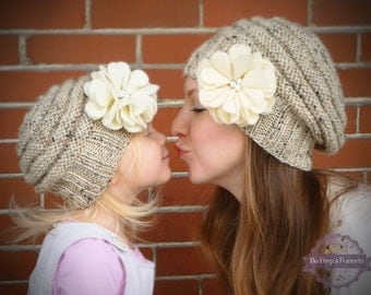 Mommy and Me Matching Knit Oatmeal Hats with Ivory Felt Flower and Pearl Centers - Knit Toddler Hat - Knit Women's Hat - Knit Baby Girls Hat