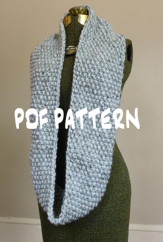Chunky Circle Scarf Knitting Pattern : Knitting PATTERN, Knit Cowl Pattern, Knit Infinity Scarf Pattern, Knitted Chu...