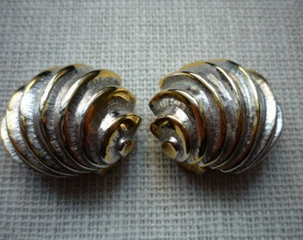 Vintage Halston Shell Swirl Gold Silver Tone Clip On Earrings