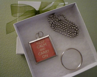 """Charm. """"KEEP CALM and CARRY on"""", Necklace, Keyrings,  Charm. Gift."""