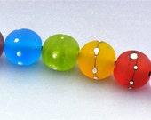 Rainbow Silver Wire Lampwork Glass Bead Set