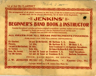 """1910 Jenkin's """"Beginner's Band Book and Instructor"""""""