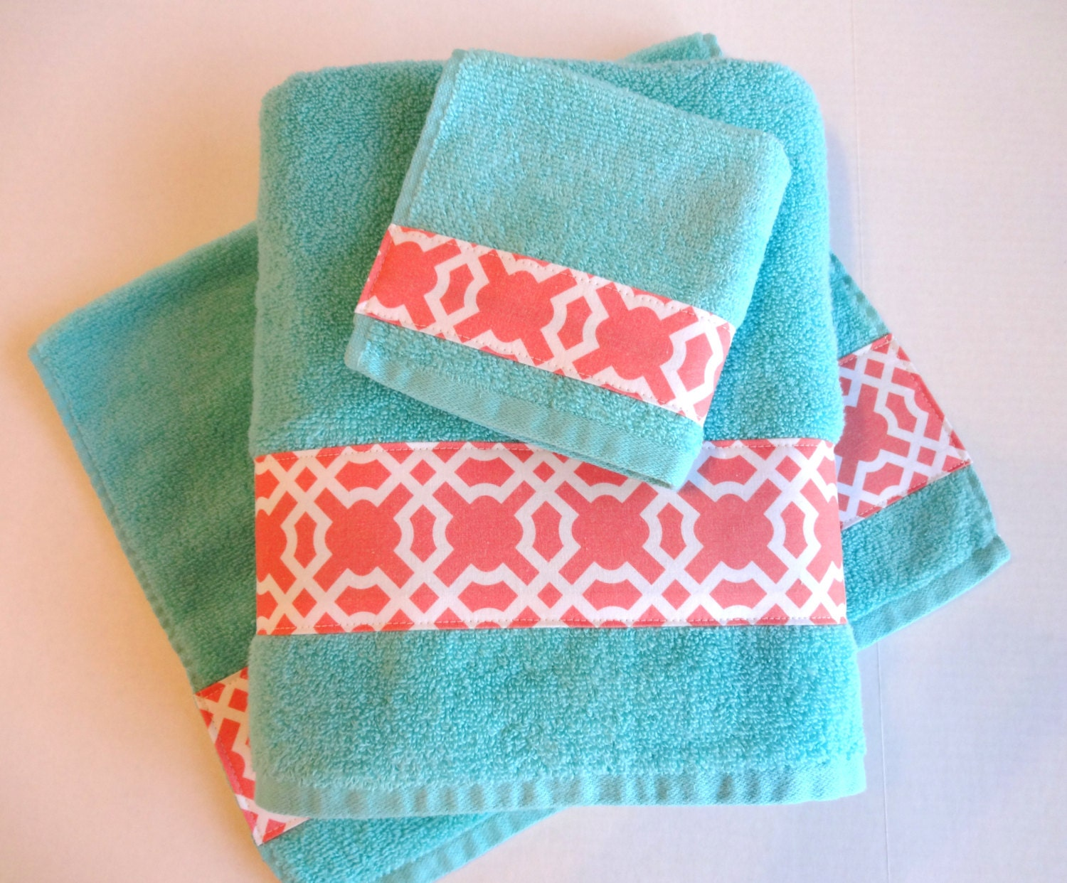 You pick size aqua and coral towels aqua towels aqua and for Aqua and coral bathroom