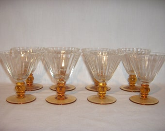 8 Elegant SHERRY/CORDIAL GLASSES Gold Glass Base with Clear Ribbed Top