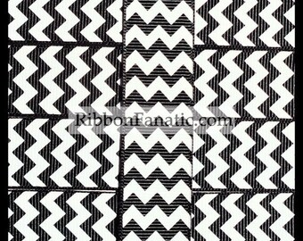 "5 yds Black and White Chevron 7/8""  Grosgrain Ribbon"