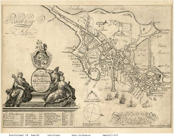 Boston 1728 Map by William Burgiss