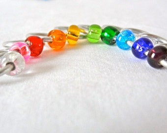 Rainbow Seamless Knitting Snag-Free Stitch Marker Set Needle Size US10.5 (6.5mm) Knitting Tool Craft Supplies Handmade Craft Stitch Markers