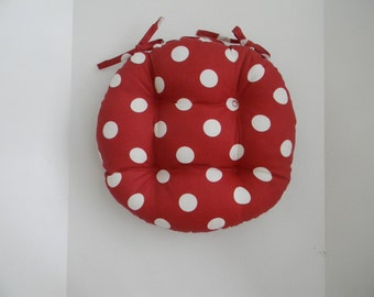 Indoor Outdoor Round Tufted Bistro Cushion - Red and White Polka Dot with Ties - Choose Size