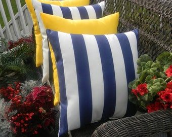 """Set of 4 Pillow Covers - 20"""" x 20"""" Indoor / Outdoor Decorative Pillow Covers - 2 Navy Blue and White Stripe & 2 Solid Yellow"""